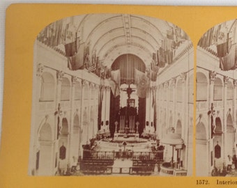 Stereoview Card Antique Photo Paris France Church for the Infirm and Disabled 1800s Vintage Photograph 3D