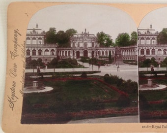 Stereoview Card Antique Photo Dresden Germany Royal Palace 1893 Vintage Photograph Keystone View 3D
