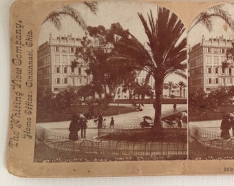 Stereoview Card Antique Photo Nice France Public Garden 1800s Vintage Photograph Whiting View Company