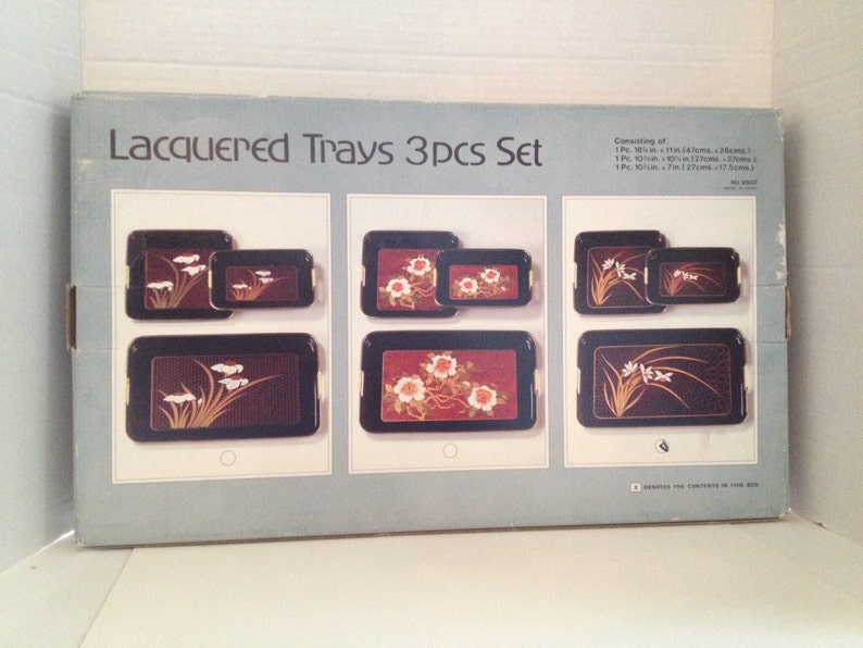 Lacquer Trays Vintage 3 Piece Set Apex 9902 Made in Japan image 0