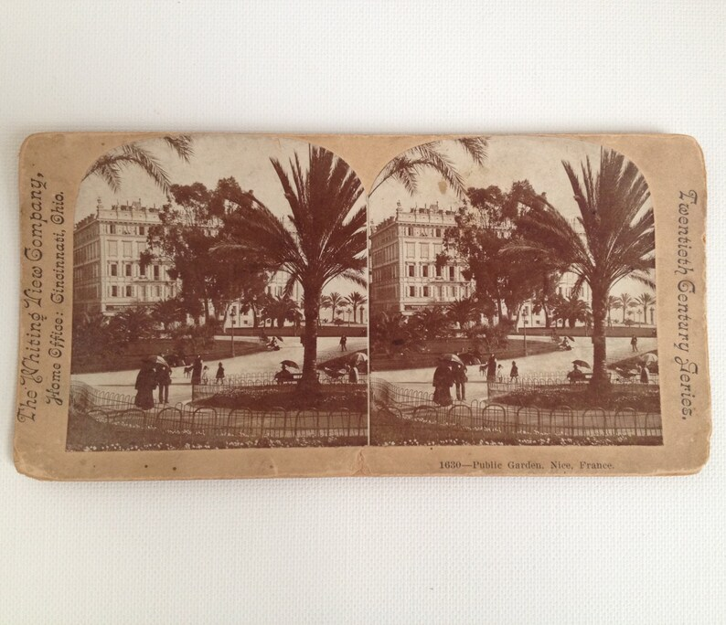 Stereoview Card Antique Photo Nice France Public Garden 1800s image 0