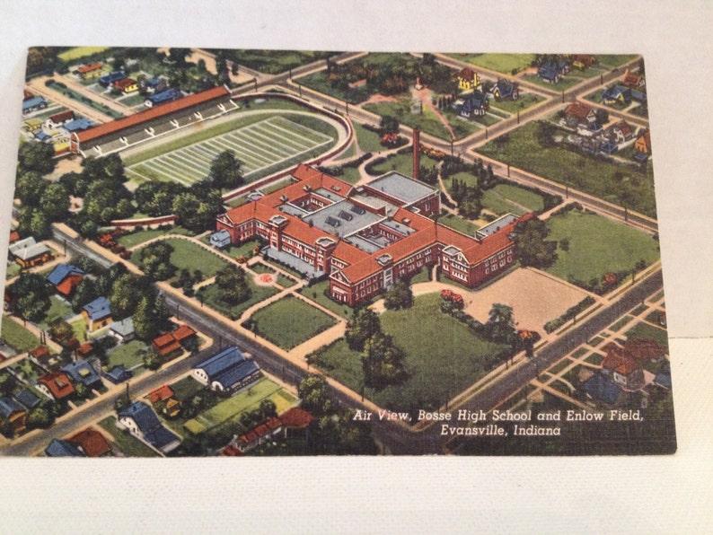 Vintage Postcard Evansville Indiana Bosse High School Enlow image 0