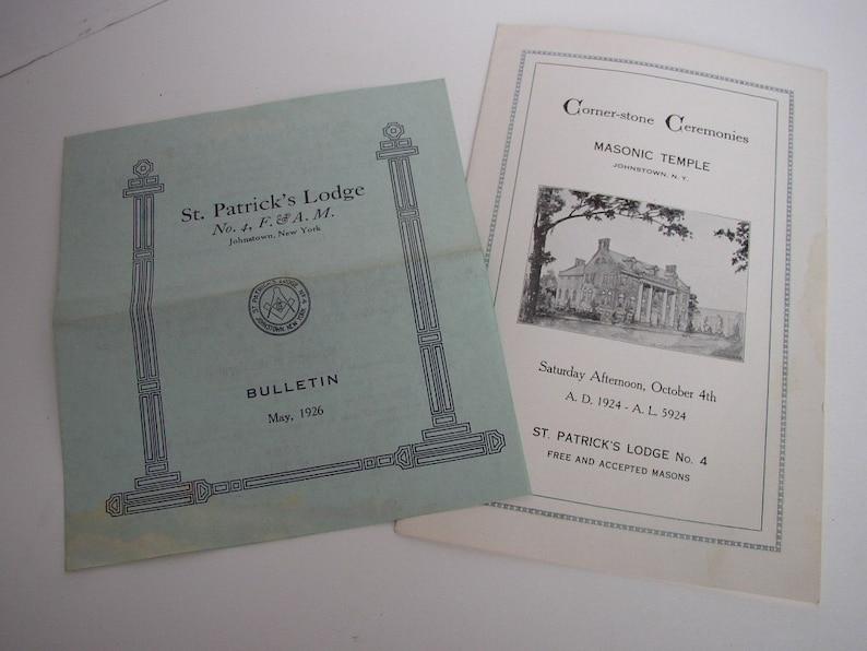 Masonic Freemason Booklets 1924 1926 Johnstown NY St Patricks image 0