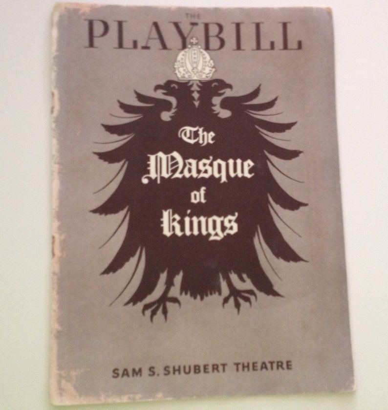 Playbill 1937 The Masque of Kings Sam Shubert Theatre Vintage image 0