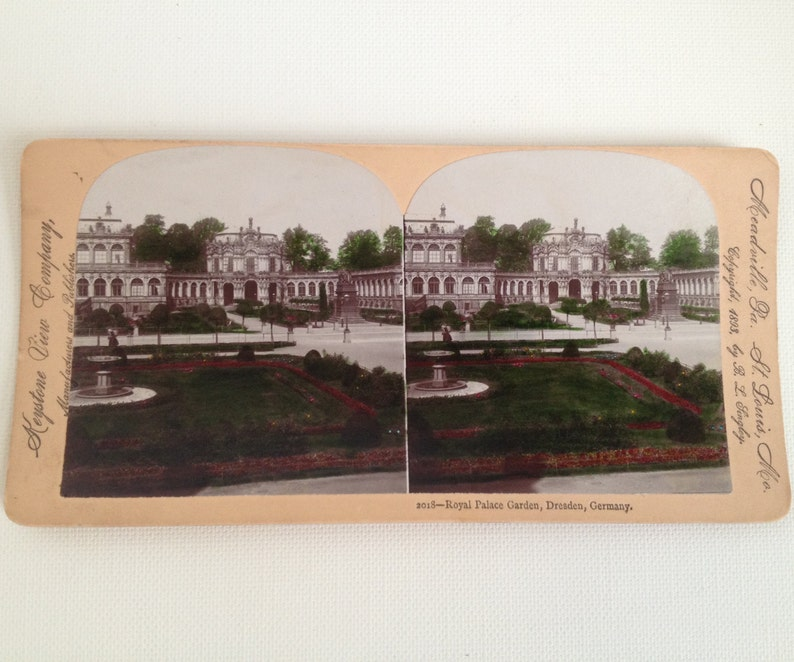 Stereoview Card Antique Photo Dresden Germany Royal Palace image 0