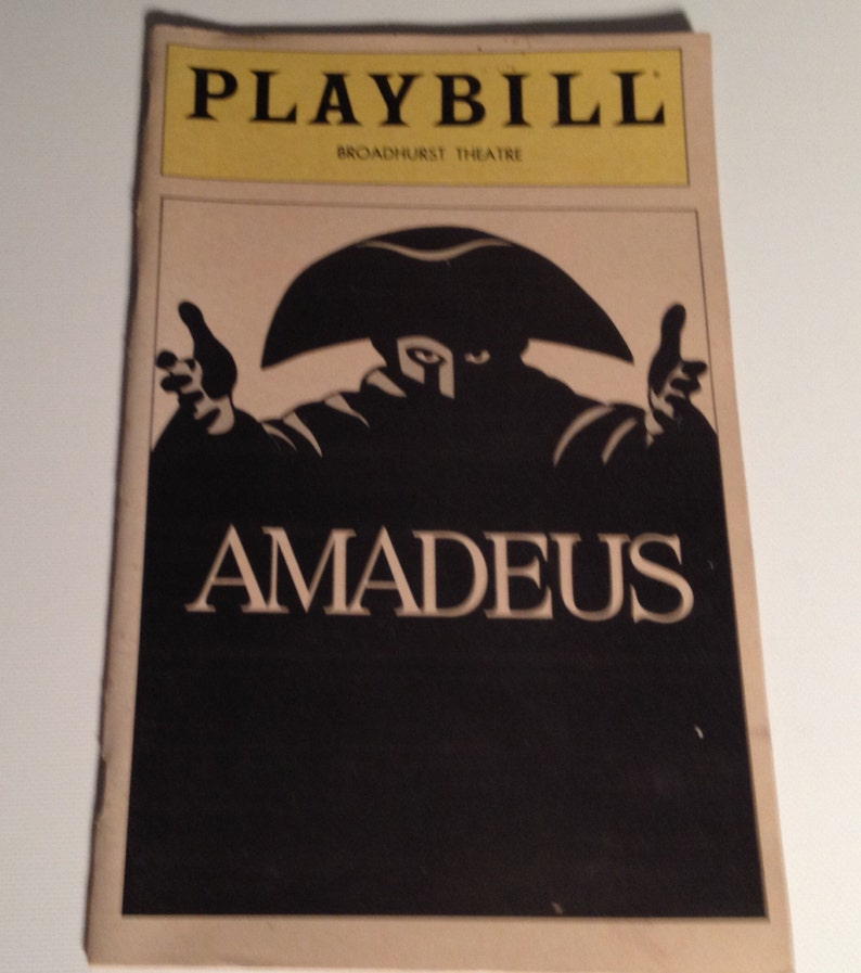 Playbill 1981 Amadeus Broadhurst Theatre Jane Seymour Vintage image 0