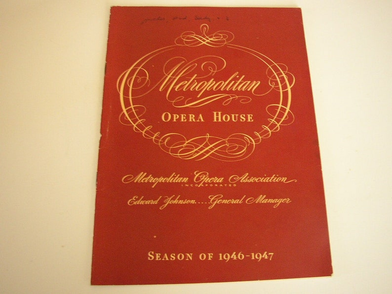 Vintage Metropolitan Opera House Book 1946 1947 Season Barber image 0
