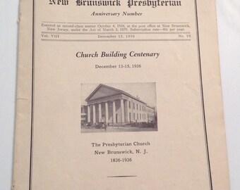 New Brunswick NJ 1936 Presbyterian Church New Jersey 100th Anniversary Program Vintage Booklet