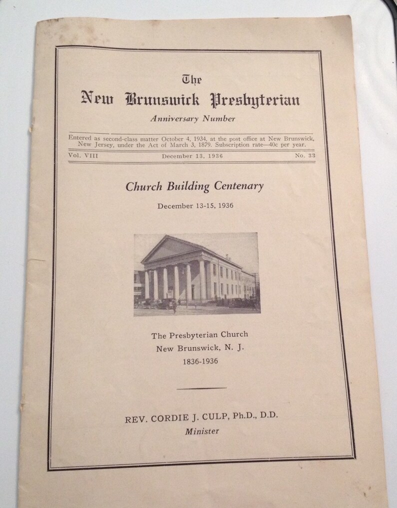 New Brunswick NJ 1936 Presbyterian Church New Jersey 100th image 0