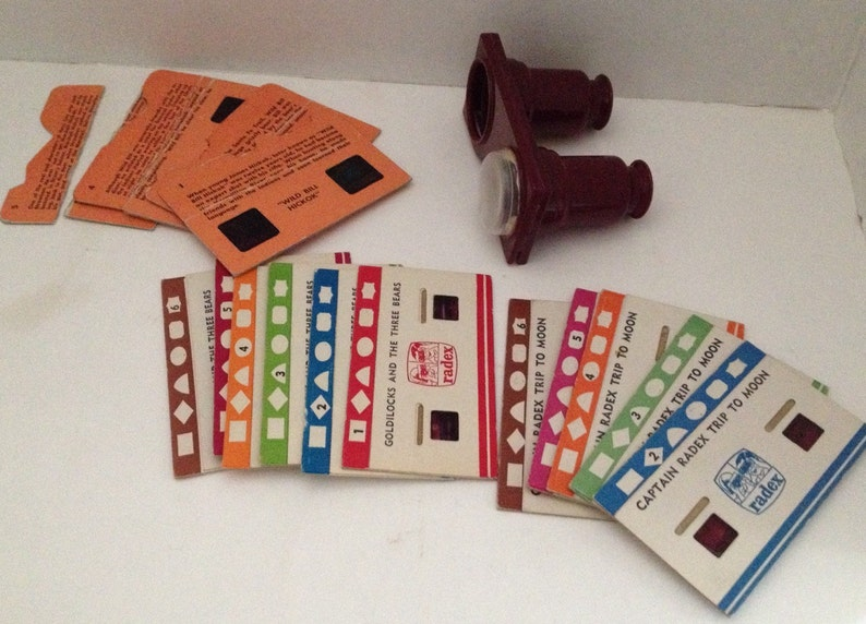 Vintage Toy Radex Viewer and Card Lot 3D Cards Goldilocks Wild image 0
