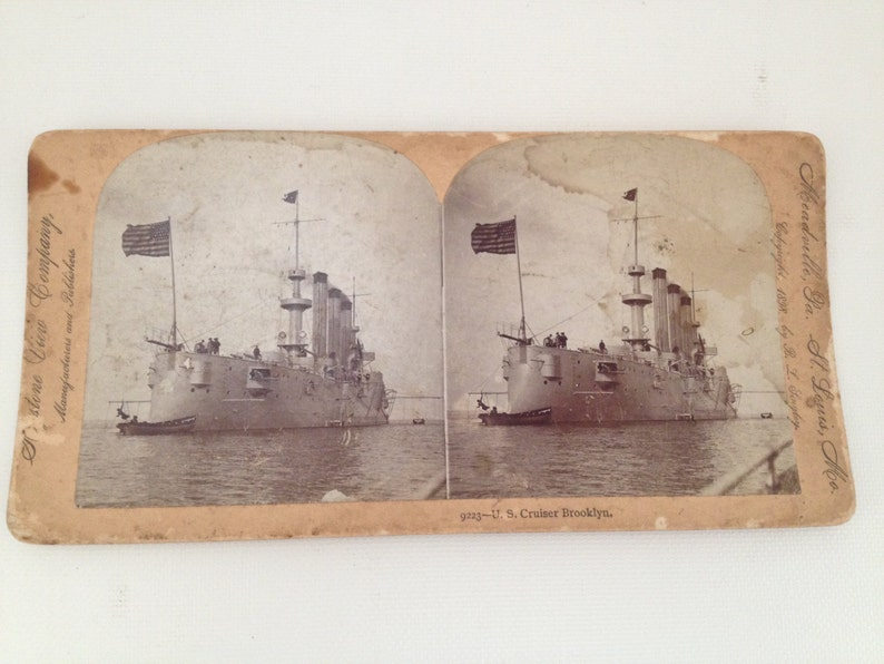 Stereoview Card 1898 US Cruiser Brooklyn Ship Keystone View image 0