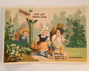 Victorian Trade Card Philadelphia PA Partridges Dining Room Eighth Street Cafe