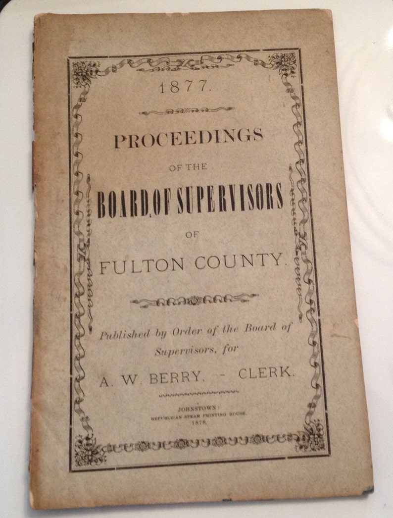 Antique Book 1877 Johnstown NY Fulton County Board of image 0
