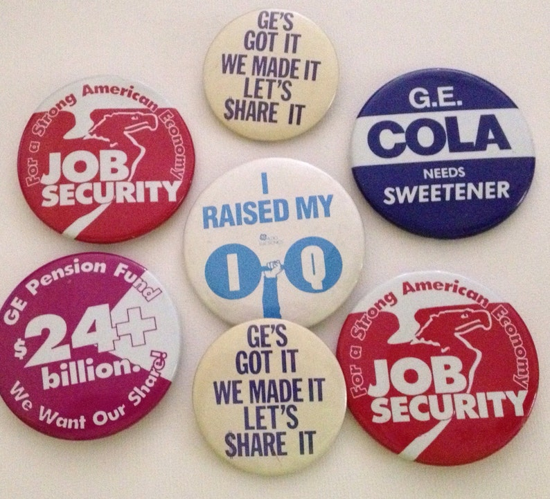 Vintage Pinback GE General Electric Union Pin Lot of 7 Pins image 0