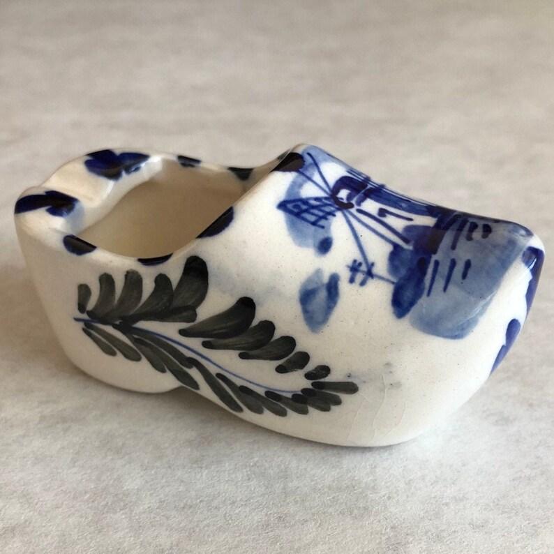 Delft Blue Shoe Vintage Miniature Clog Holland Souvenir Dutch image 0