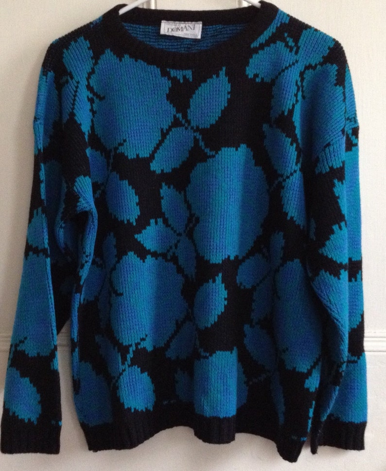 Vintage Sweater Domani 1980s Made in USA Teal Black Acrylic Long Sleeve Knit *** SALE ***