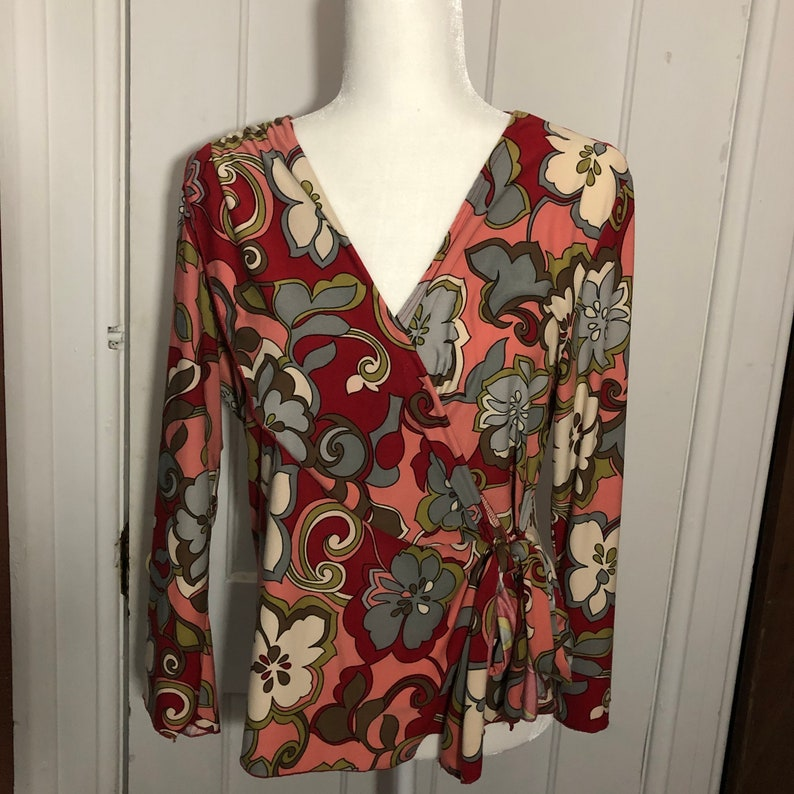 Forenza Blouse Size XL Polyester Boho Floral Print Made in USA image 0