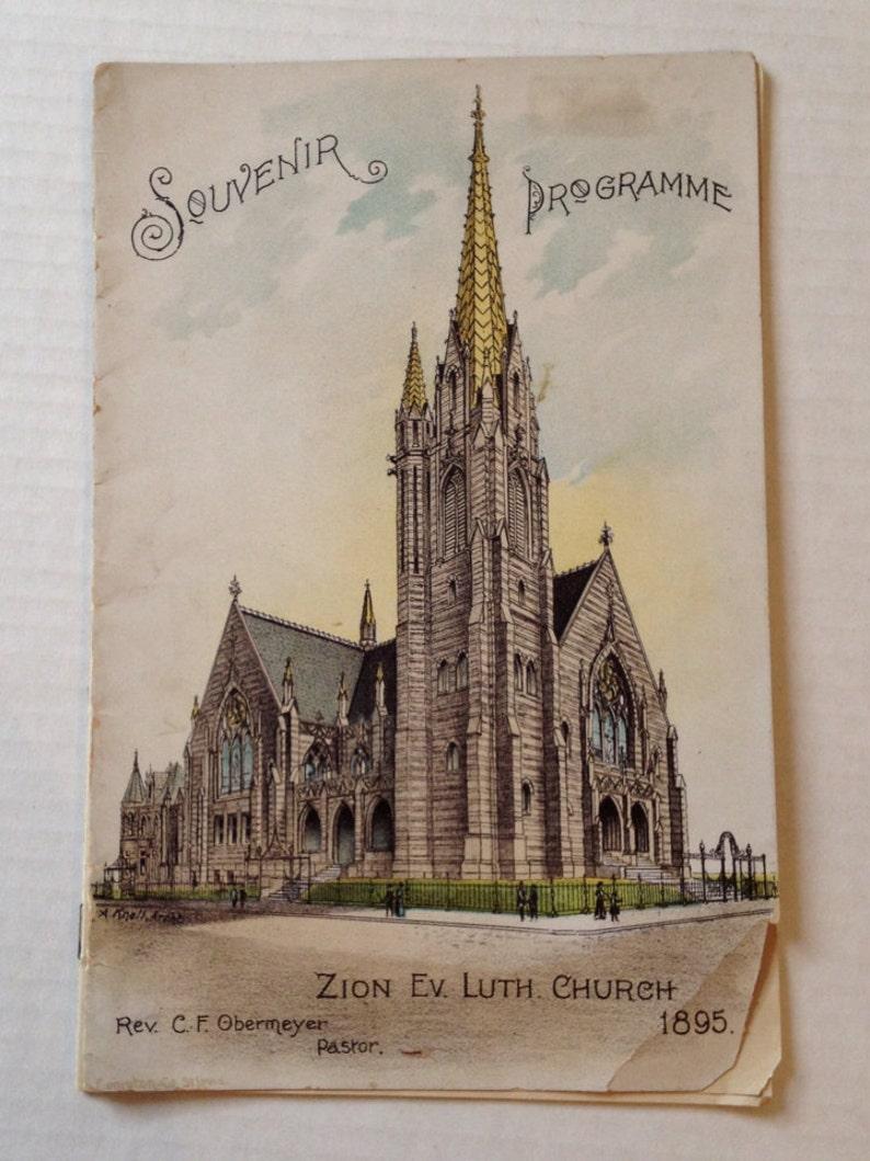 Vintage Missouri Zion Lutheran Church St Louis MO 1895 Antique image 0