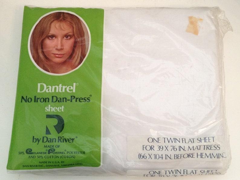 Vintage Dan River Twin Flat Sheet Cotton Muslin Poly White image 0