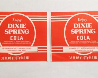 Dixie Spring Cola Label 32 oz Beverage Bottle Sticker Dickson City PA 2 Labels Per Order