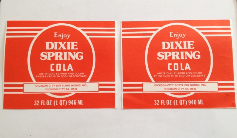 Dixie Spring Cola Label 32 oz Beverage Bottle Sticker Dickson image 0