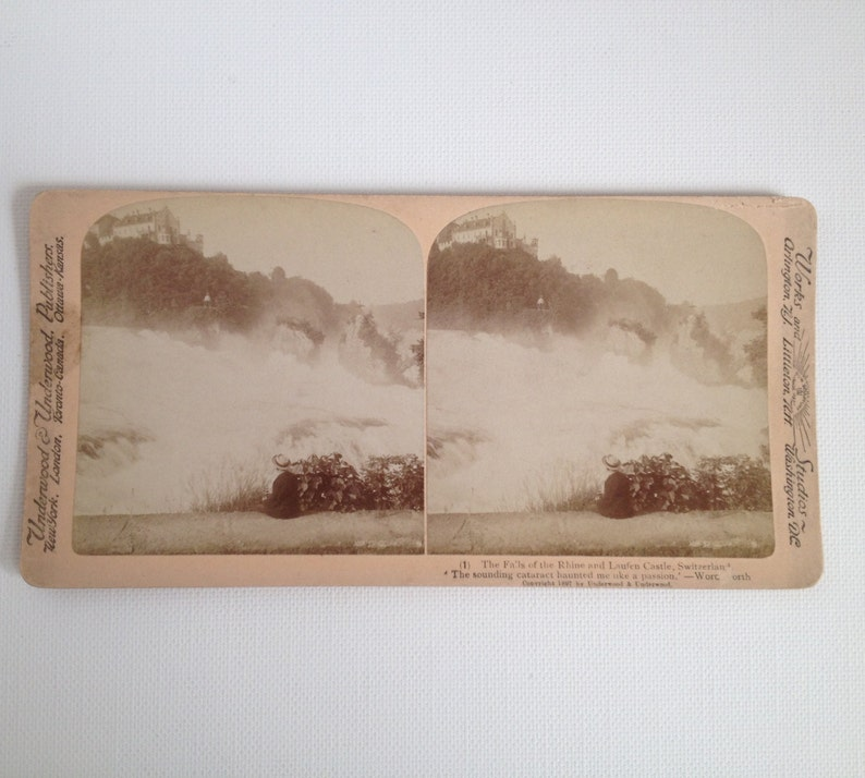 Stereoview Card Antique Photo 1897 Switzerland Falls of the image 0