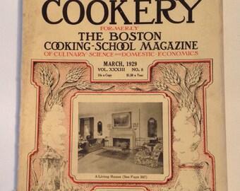 Boston Cooking School March 1929 American Cookery Vintage Cookbook Original Cook Book