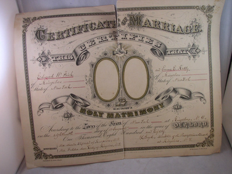 Antique Marriage Certificate 1880 Kingsboro NY Fisk Kelly image 0
