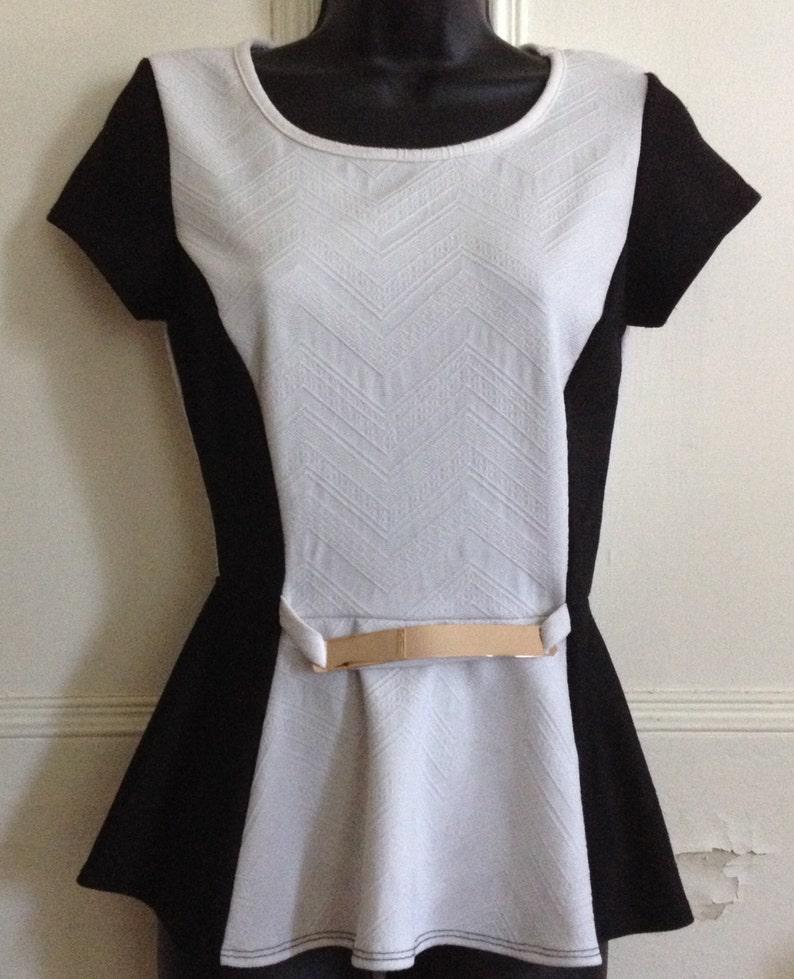 Vintage Peplum Blouse Say Anything Size Medium M Short Sleeve image 0