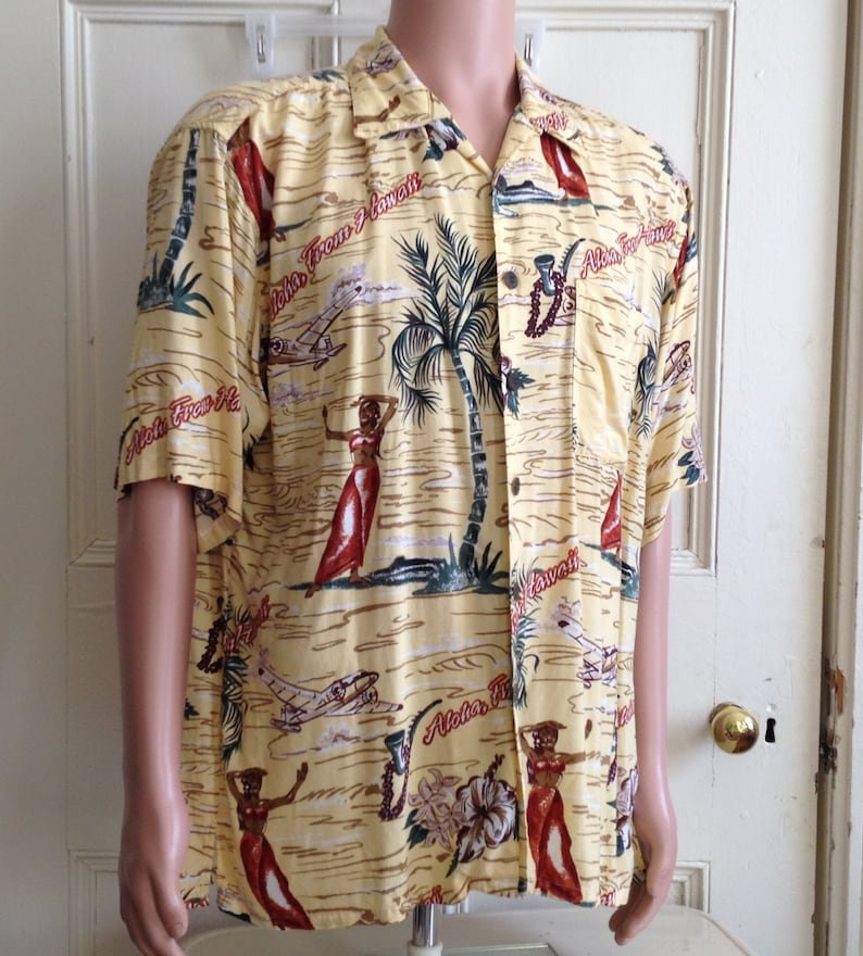 Vintage Mens Shirt Gotcha Sports Hawaiian Shirt Rayon Size image 0
