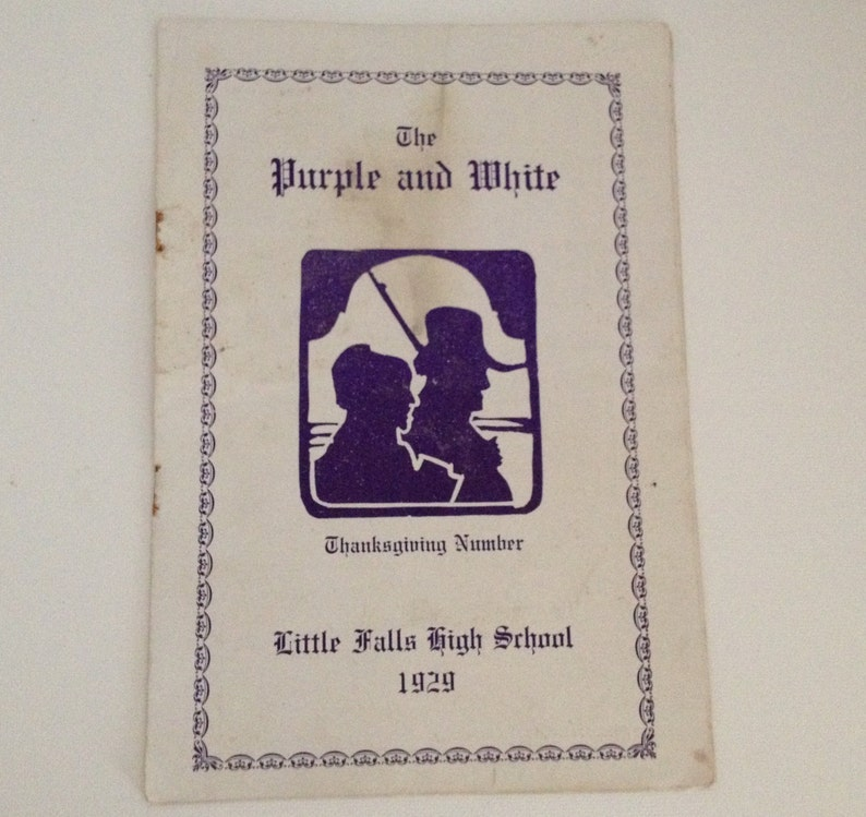 Vintage Little Falls NY High School 1929 Purple and White image 0