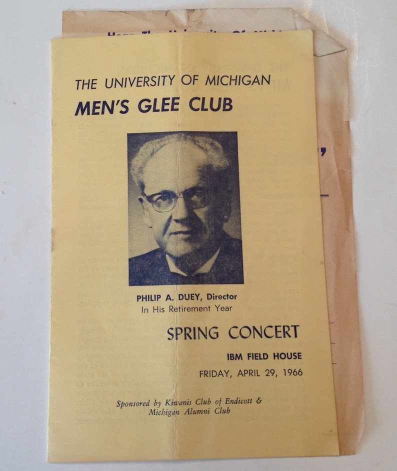 Vintage University of Michigan Program 1966 Mens Glee Club image 0