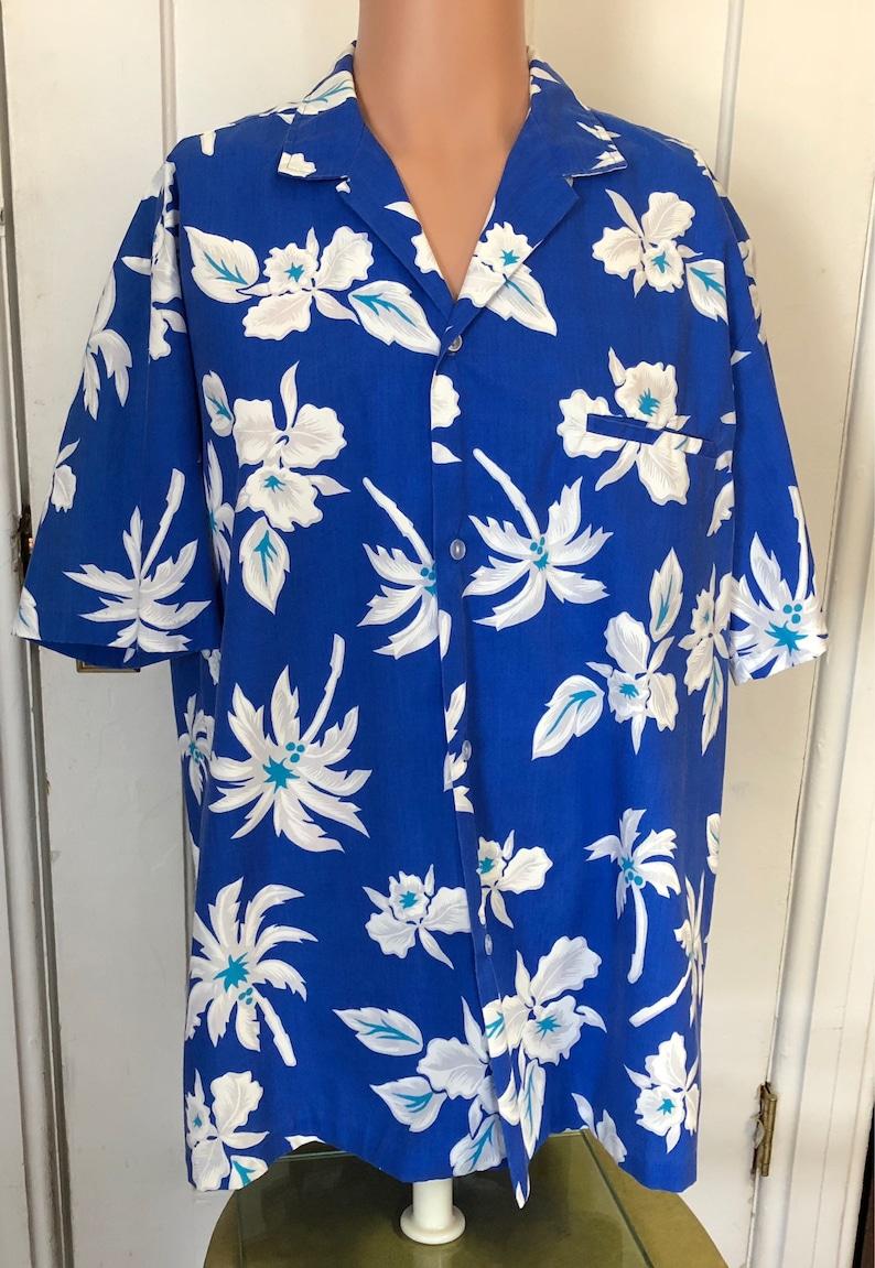 Royal Creations Hawaiian Shirt Mens Size XL Blue Aloha Camp image 0