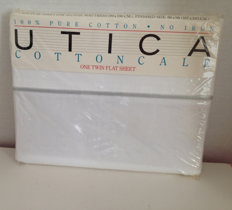 Twin Flat Sheet J P Stevens Utica Cottoncale White 100% Pure image 0