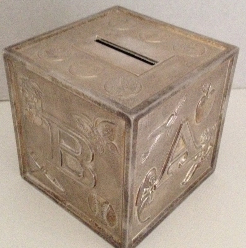 Coin Bank Metal Silver Plated Block Bank Vintage image 0