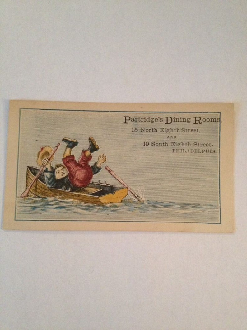 Victorian Trade Card Philadelphia PA Partridges Dining Room image 0