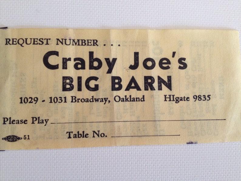 Craby Joe's Big Barn Ticket Stub 1930s Vintage Menu Stub image 0
