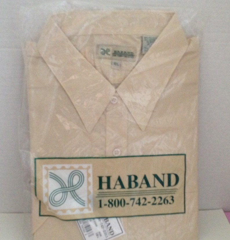 Haband Shirt Mens Size 18.5 Beige Short Sleeve Vintage in image 0