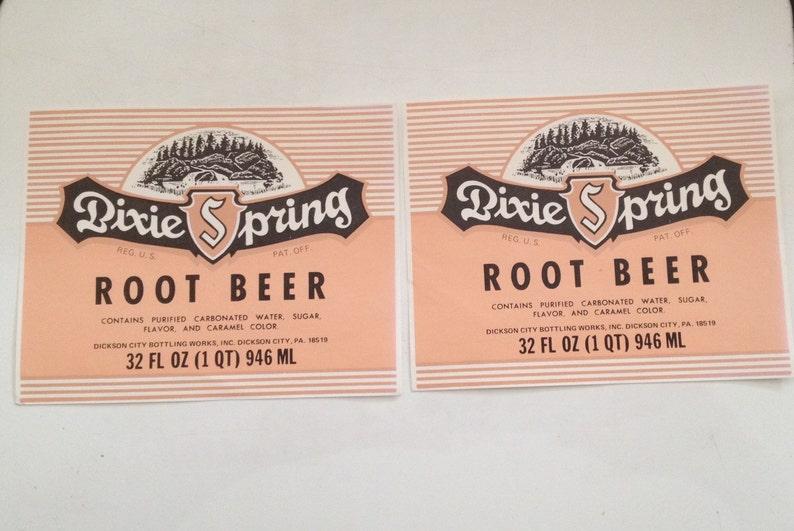 Dixie Spring Root Beer Label 32 oz Beverage Bottle Sticker image 0