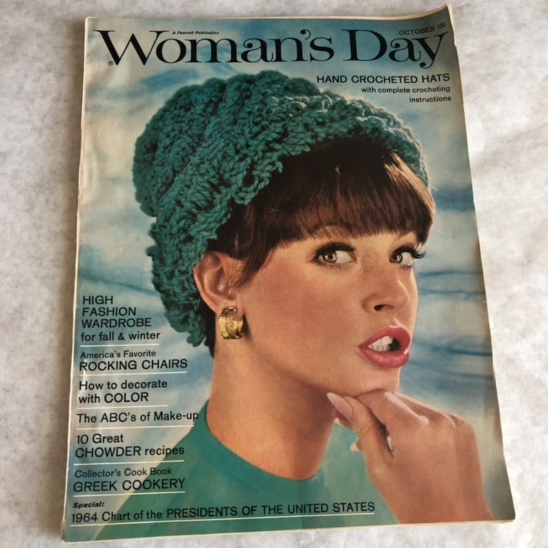 Womans Day Magazine October 1964 Crocheted Hats James Beard image 0
