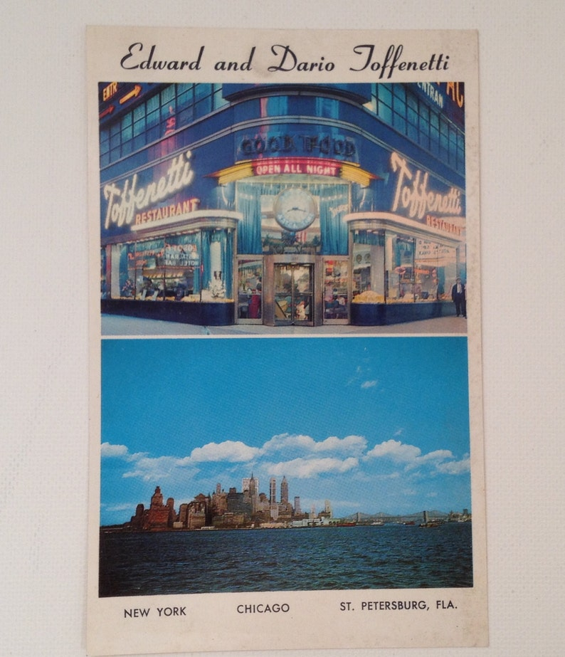 Vintage Postcard Toffenetti Restaurants NYC Edward and Dario image 0