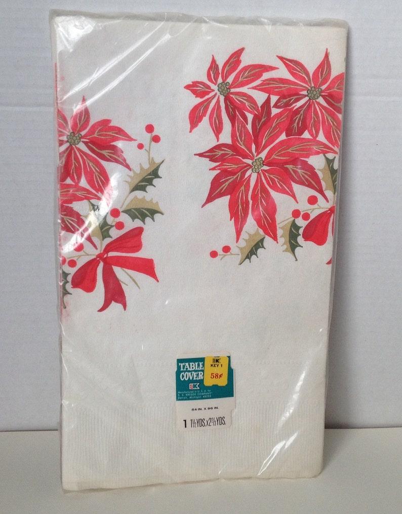 Vintage Tablecloth Paper Christmas Poinsettias Kresge K-Mart image 0