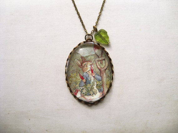 cef2eeba8a9a Peter Rabbit Necklace beatrix potter. magnifying pendant. art