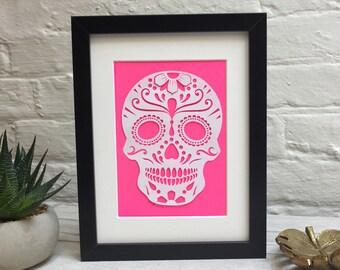 Papercut Sugar Skull / Sugar Skull Papercut / Colour Pop Art / Day Of The Dead Skull Artwork / Dia De Los Muertos / Skull Artwork / Papercut