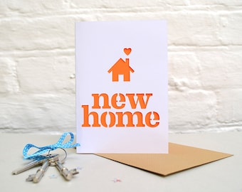 New Home Papercut Card/Striking Cut Out Card/Colour Pop/Moving House/Housewarming/Metallic/Neon/Home Is Where The Heart Is