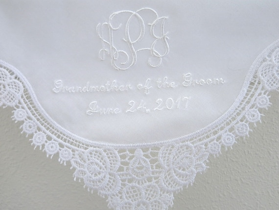 13aa8c53ce Grandmother of the Bride Lace Wedding Handkerchief with