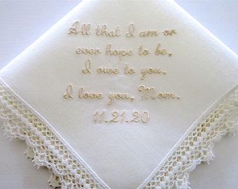 Ivory Mother of the Bride Wedding Hankerchiefs, Wedding Hankies, Hankerchiefs for Bridal Party, hankerchiefs, moms handkerchief