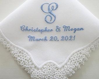 White Wedding Handkerchief, Wedding Hankie, Names and Wedding Date Handkerchief, Hankerchief for the Bride, hankerchief