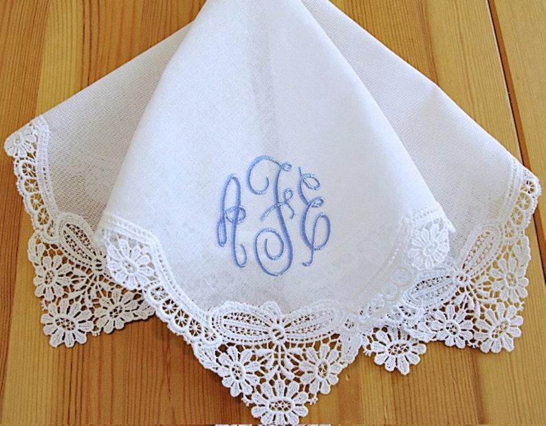 8f2b9b82fa German Guipure Lace Wedding Lace Handkerchief with Monogram