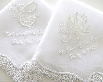 Lace Wedding Handkerchief, Wedding hankerchief, wedding hanky, mother of the bride handkerchiefs, bride and groom names wedding hankie